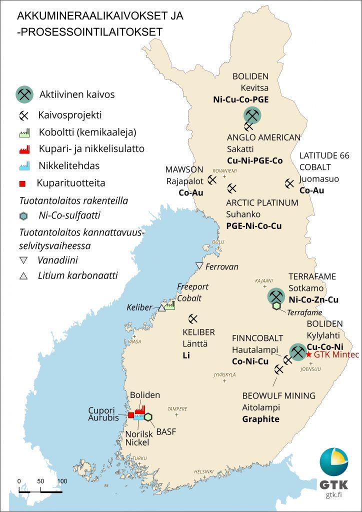 Akkumineraalikaivokset ja -prosessointilaitokset Suomessa